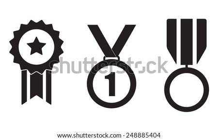 Medals, awards and trophy icon set isolated on white background. Vector illustration. - stock vector