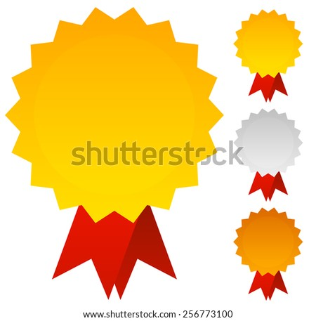 Medals, Badges as Awards in Gold, Silver and Bronze - stock vector