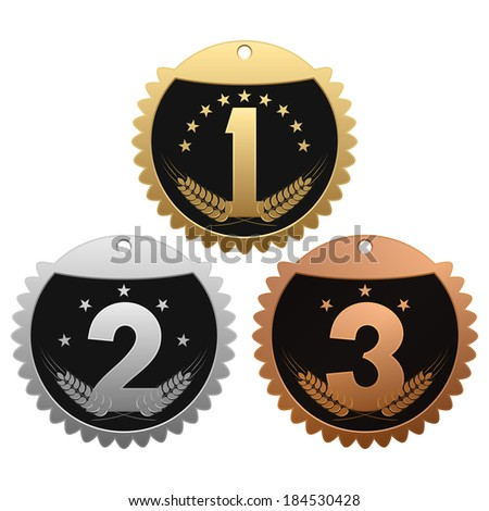 Medals for winners. Set of medals on white background. - stock vector