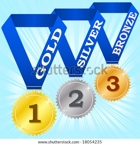 Medals on blue ribbons. Vector