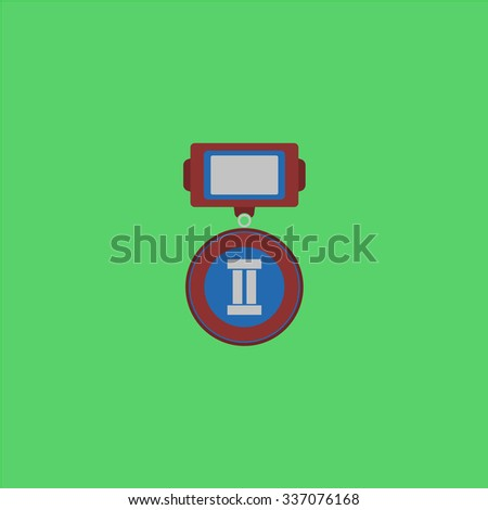 Medals 2 places. Icon Vector. Icon Picture. Icon Graphic. Icon Art. Icon JPG. Icon JPEG. Icon EPS. Icon AI. Icon FLAT. Icon SIMPLE - stock vector
