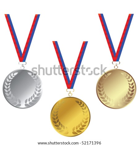 Medals set isolated over white background