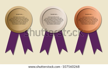 Medals with copy-space, symbol for winning and success,  Medals for Olympic games, vector - stock vector