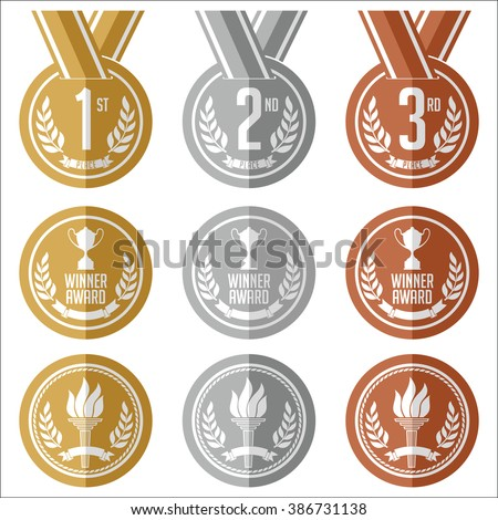 Medals with Ribbon. Flat. Set of Gold, Silver and Bronze Olympic Medals. Vector. - stock vector