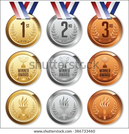 Medals with Ribbon. Set of Gold, Silver and Bronze Olympic Medals. Vector. - stock vector