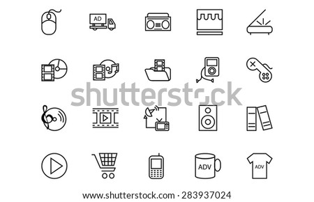 Media and Advertisement Line Icons 5