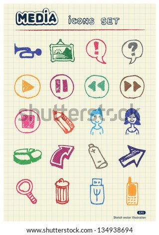 Media and arrows web icons set drawn by color pencils. Hand drawn vector elements pack isolated on paper - stock vector