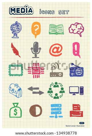 Media and business icons set drawn by color pencils. Hand drawn vector elements pack isolated on paper