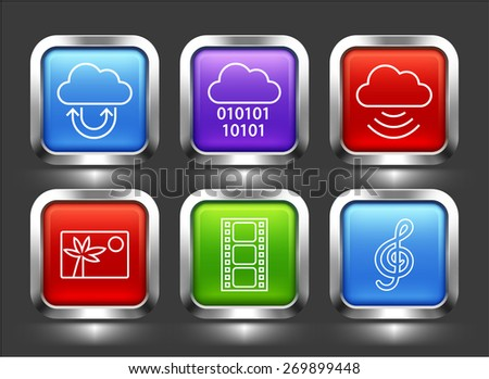 Media and Cloud Download on Color Square Buttons - stock vector