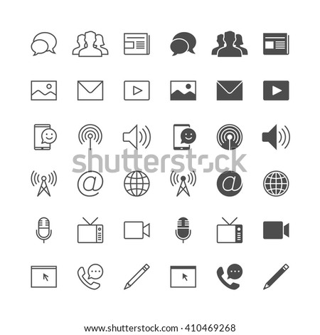 Media and communication icons, included normal and enable state. - stock vector