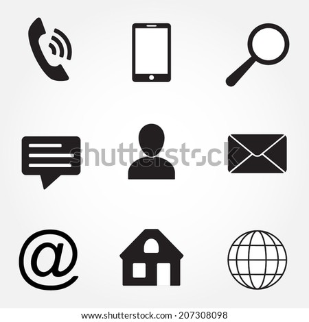 Media and communication icons set. Contact symbols. Vector illustration. - stock vector