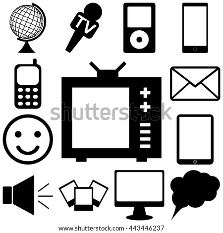 Media and communication icons set. FLat Vector illustration