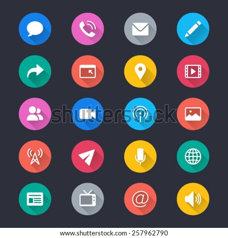 Media and communication simple color icons - stock vector