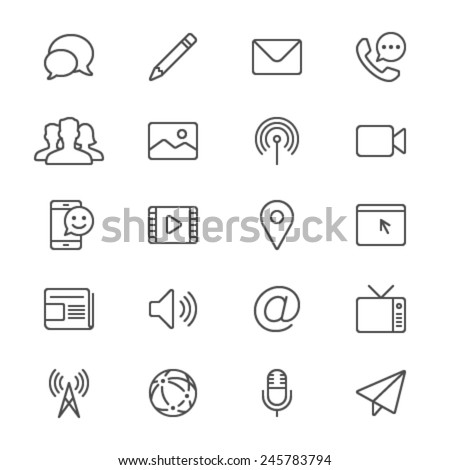 Media and communication thin icons - stock vector