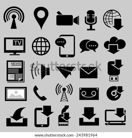 Media and download icons.vector - stock vector