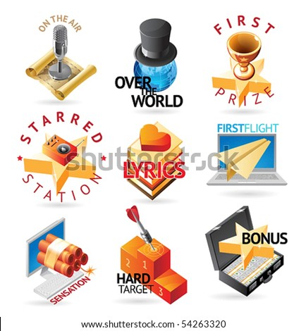 Media and entertainment icons. Heading concepts for document, article or website. Vector illustration. - stock vector