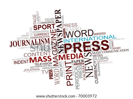 Media and journalism tags cloud for design. Jpeg version also available - stock vector