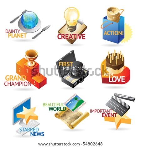 Media and leisure icons. Heading concepts for document, article or website. Vector illustration. - stock vector