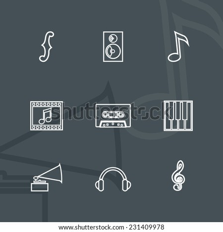 Media and music - design elements collection. Set of linear icons. - stock vector