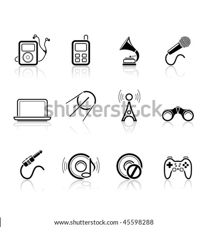 Media and music icons | simple series part 2 - stock vector