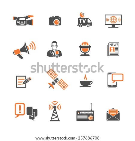 Media and News Icons Set with Journalism, Television, Newspaper and SMS in two color. Vector isolated on white. - stock vector