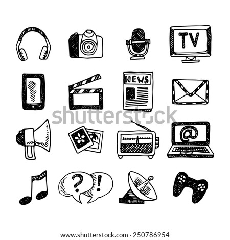 Media and news icons sketch set with megaphone newspaper headphones isolated vector illustration - stock vector