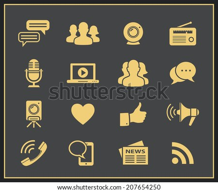 Media and social networks icon set. Vector social network icons