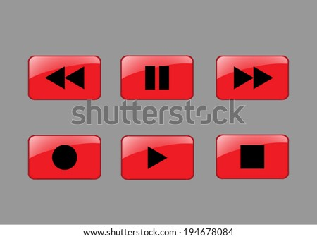 media button - stock vector