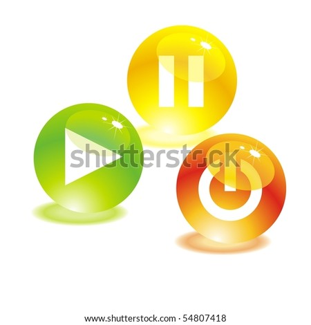Media buttons on a white background. Vector for your design - stock vector