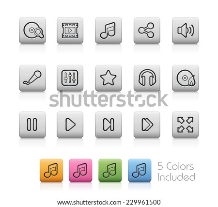 Media Center Icons // Outline Buttons  ++ Each color in a layer - To select only the desired color, we suggest to block the others colors on the Layer Panel++  EPS 10+
