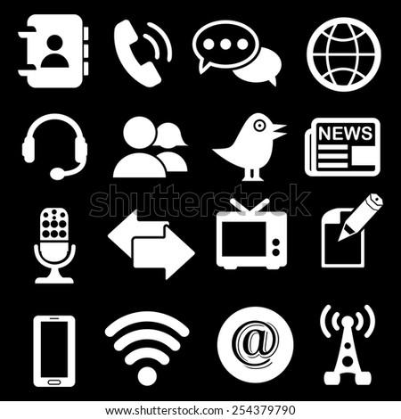 Media Communication Icons - stock vector