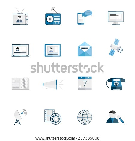 Media communication icons flat set of tv radio blog internet news isolated vector illustration - stock vector