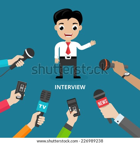 Media conducting a press interview with a businessman answering questions or giving a presentation to a row of hands holding microphones  vector illustration - stock vector
