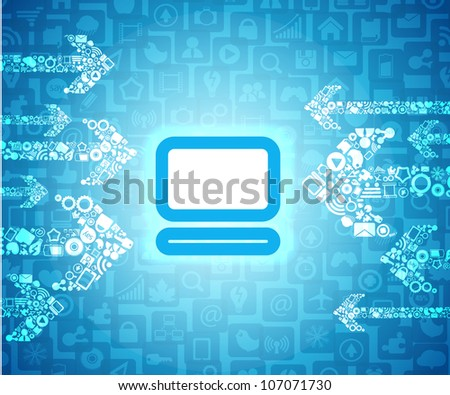 Media content arrows going to glowing computer pictogram - stock vector
