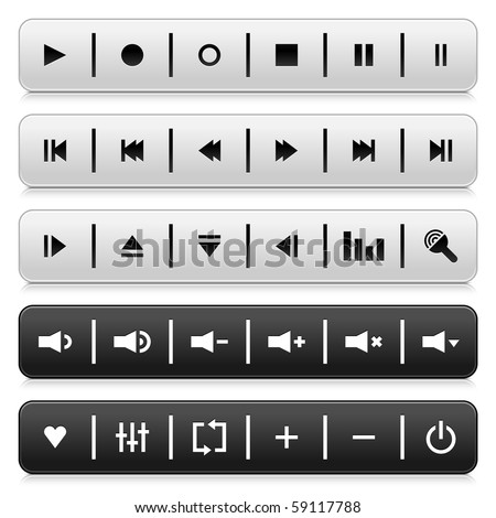 Media control web 2.0 buttons navigation panel. Gray and black rounded rectangle shapes with shadow and reflection on white background - stock vector