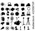 media device silhouette set - stock vector