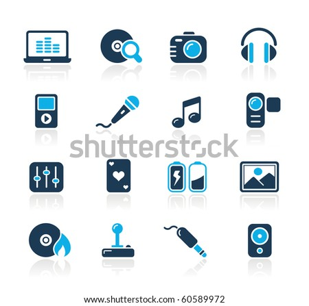Media & Entertainment Web Icons // Azure Series - stock vector