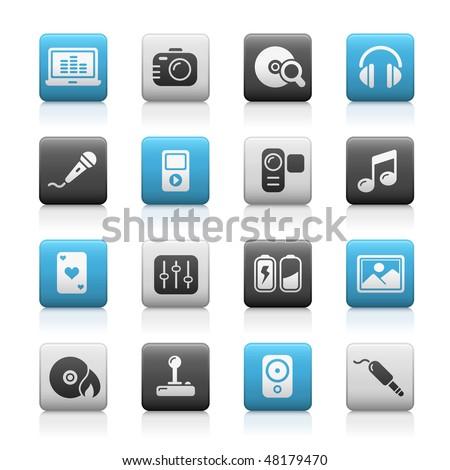 Media & Entertainment Web Icons // Matte Series - stock vector