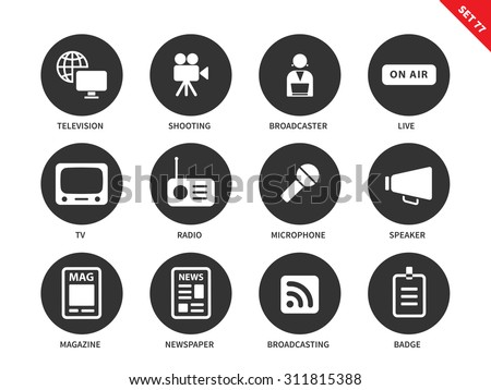 Media equipment vector icons set. Mass media concept. Broadcasting items, television, broadcaster, on air sign, radio, speaker, magazine and newspaper. Isolated on white background