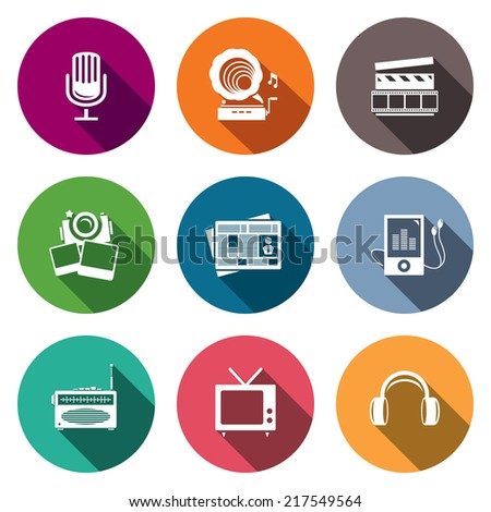 Media flat icon set - video, news, music, TV, recording, photo - stock vector