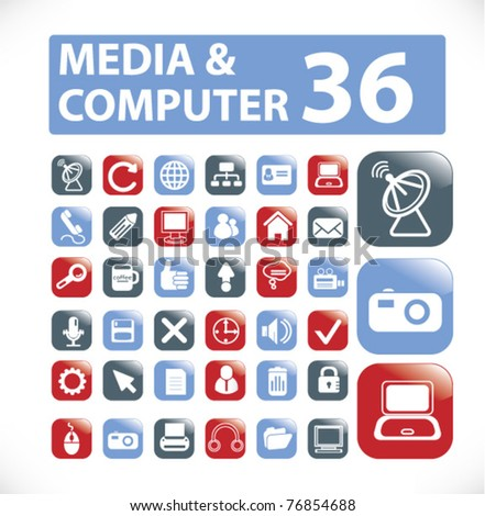 media glossy buttons, icons, signs, vector illustrations - stock vector