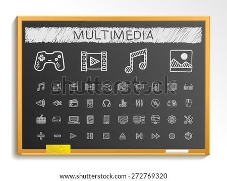 Media hand drawing line icons. Vector doodle pictogram set: chalk sketch sign illustration on blackboard with hatch symbols: buttons, camera, tv, laptop, joystick, movie, device, tablet - stock vector