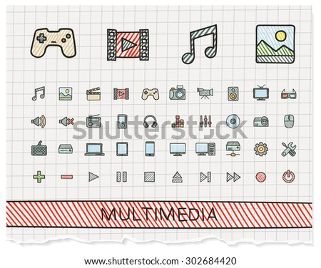 Media hand drawing line icons. Vector doodle pictogram set: color pen sketch sign illustration on paper with hatch symbols: buttons, camera, tv, laptop, joystick, movie, device, tablet - stock vector