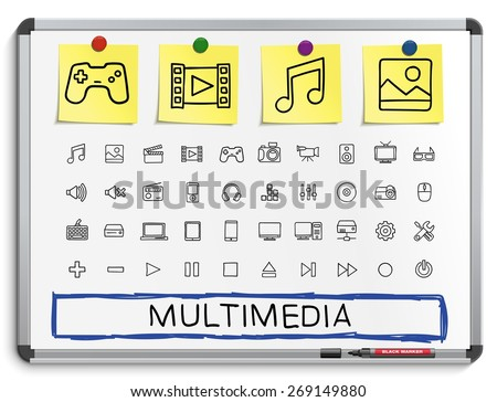 Media hand drawing line icons. Vector doodle pictogram set: sketch sign illustration on white marker board with paper stickers: buttons, camera, tv, laptop, joystick, movie, device, tablet - stock vector