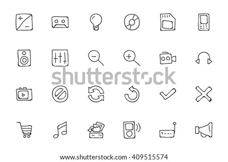 Media Hand Drawn Doodle Icons 3 - stock vector