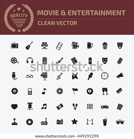 Media icon,entertainment icon set,vector - stock vector