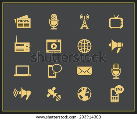 Media icon set. Communication and news concept. Vector icons for news information agency - stock vector