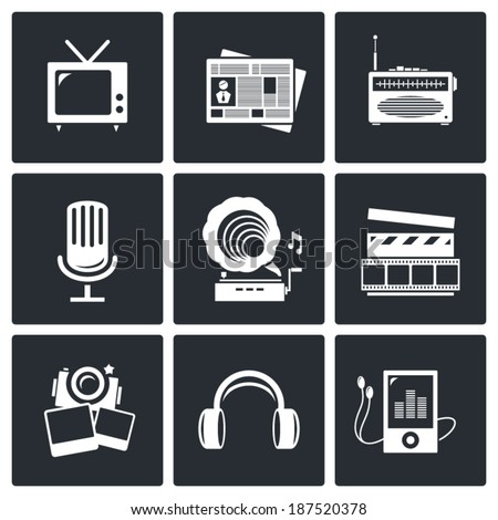 Media icon set - video, news, music, TV, recording, photo  - stock vector