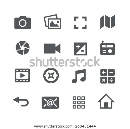 Media Icons // Apps Interface - stock vector