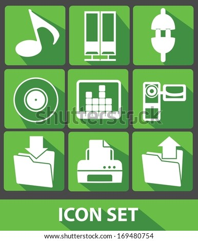 Media icons,Green buttons,vector